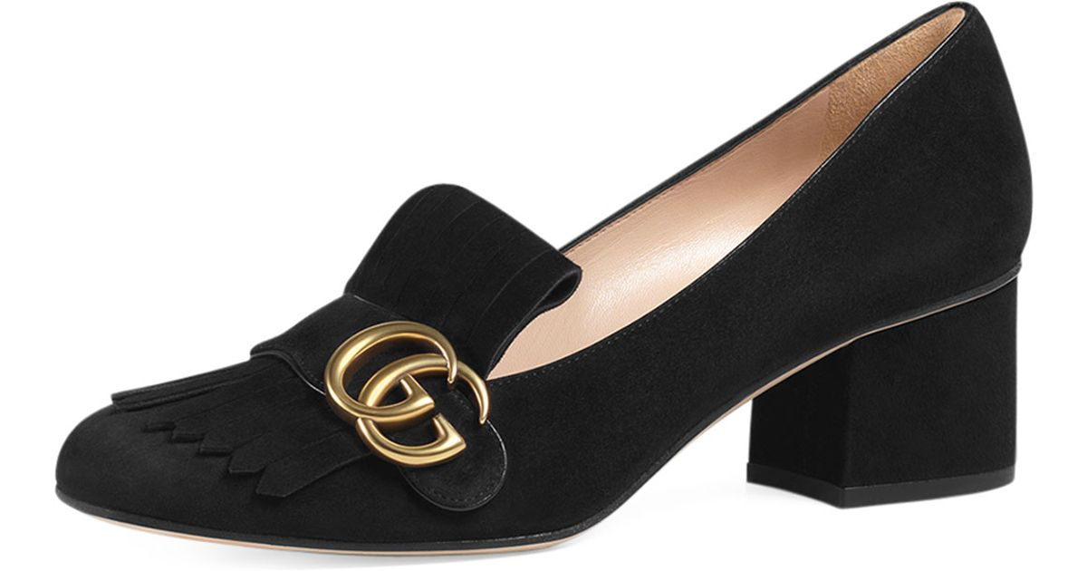 389bb5790fcd Lyst - Gucci Marmont Fringed Loafers in Black