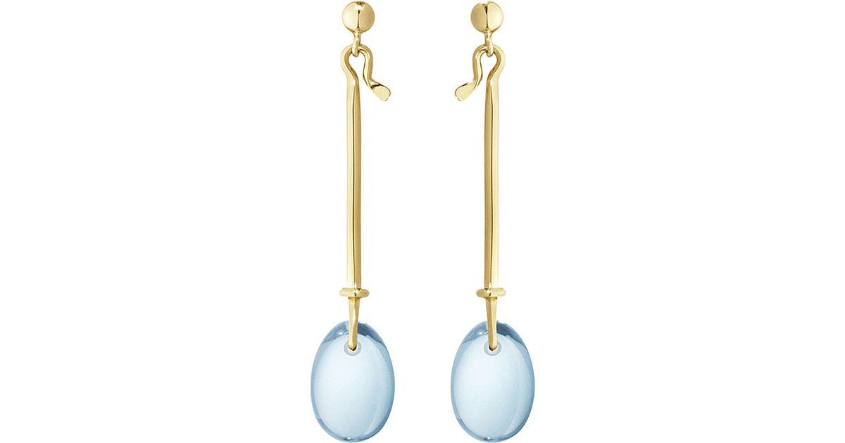 a0233e75b Georg Jensen Dew Drop 18ct Yellow-gold And Topaz Earrings in Metallic - Lyst