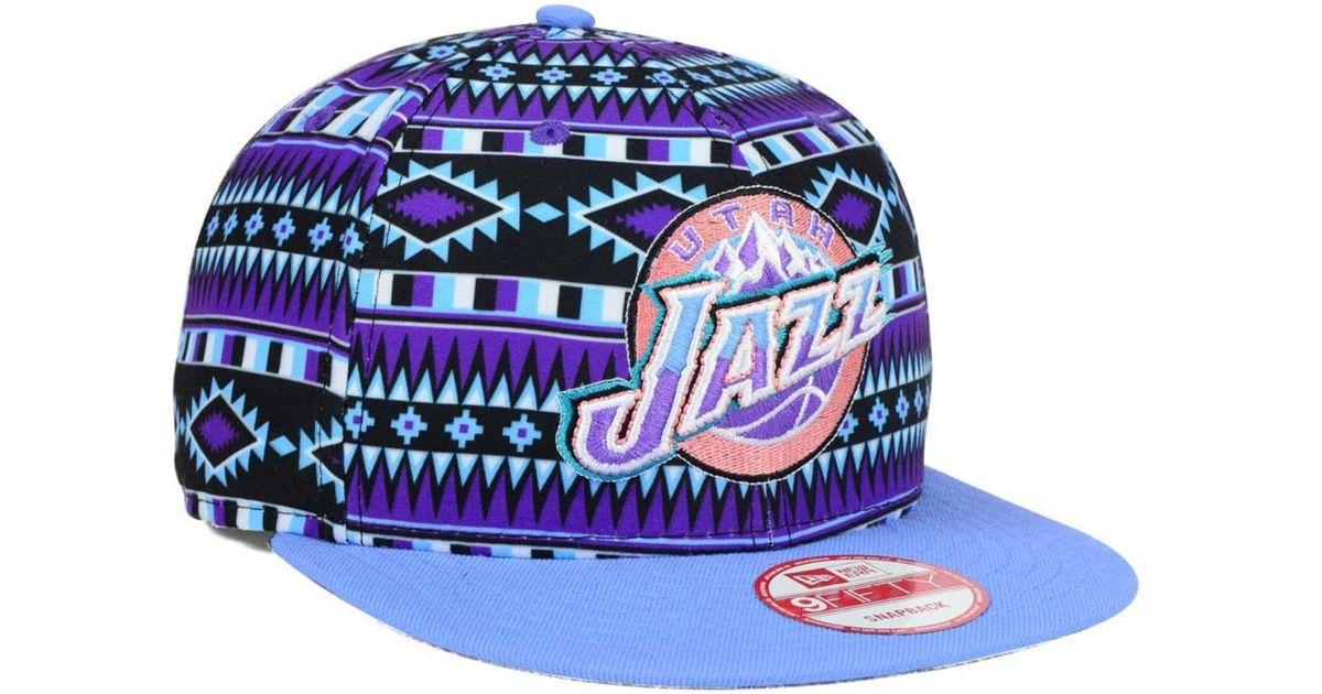 1918648c8 ... good lyst ktz utah jazz hwc tri all print 9fifty snapback cap in purple  for men