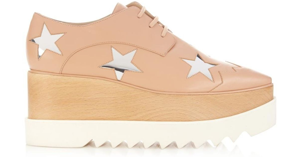 169102a46966 Lyst - Stella McCartney Elyse Lace-Up Platform Shoes in Natural