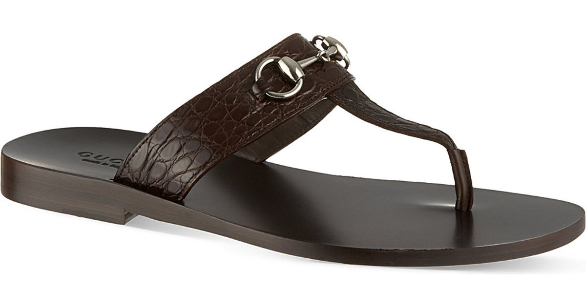 255b15282 Gucci Ben Horsebit Thong Sandals - For Men in Brown for Men - Lyst