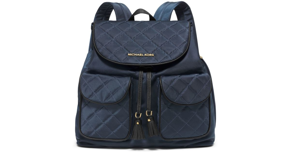 5940e0a387e268 Michael Kors Kieran Large Quilted-nylon Backpack in Blue - Lyst