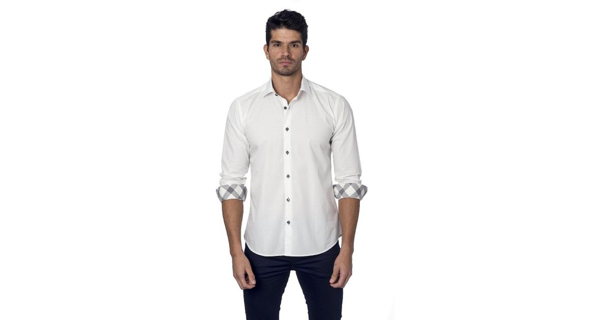 Jared lang mens woven button down shirt in white for men for Mens white button down dress shirts