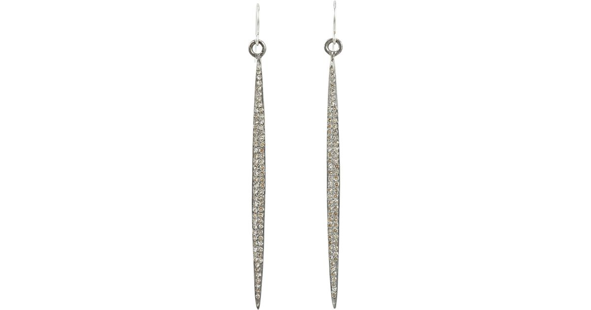 Feathered Soul Womens Pavé Diamond & Sterling Silver Short Wand Earrings XvGBi07