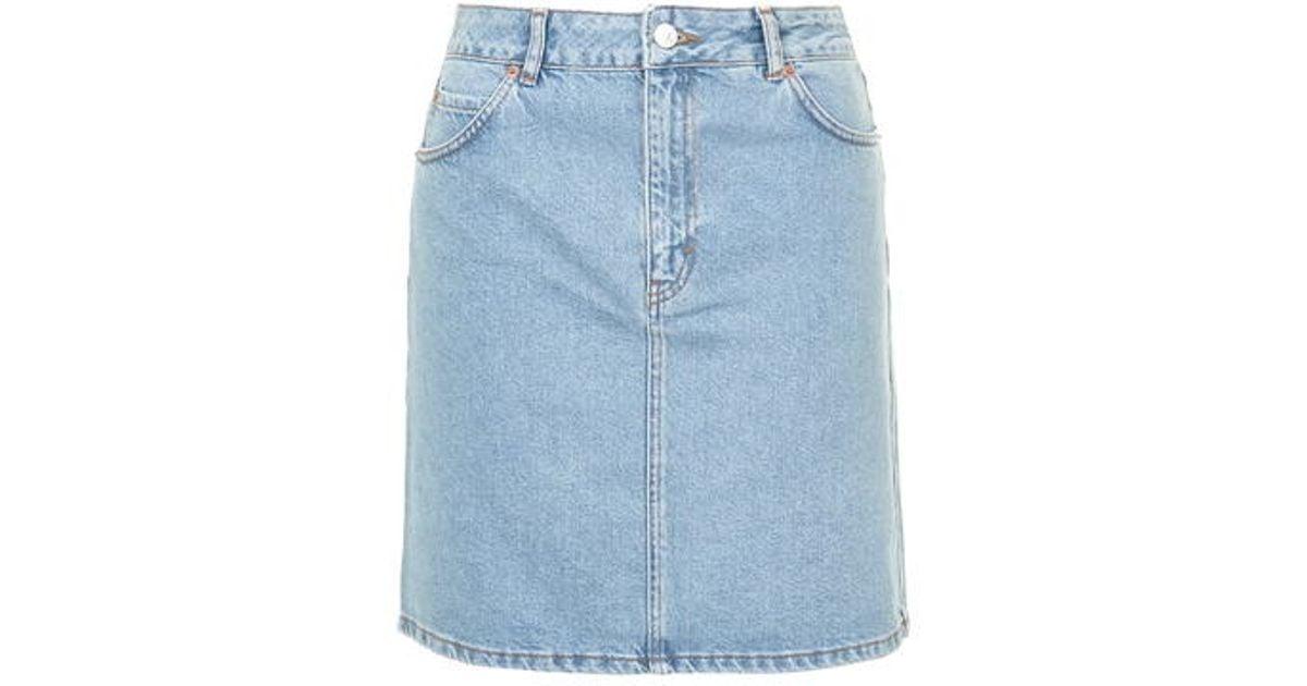 2a532eb584 TOPSHOP Moto High-waisted Denim Skirt in Blue - Lyst
