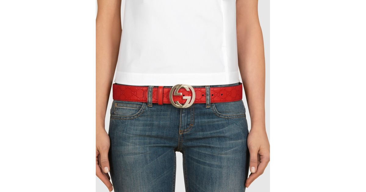 Lyst - Gucci Ssima Leather Belt With Interlocking G Buckle in Red 4948220a872