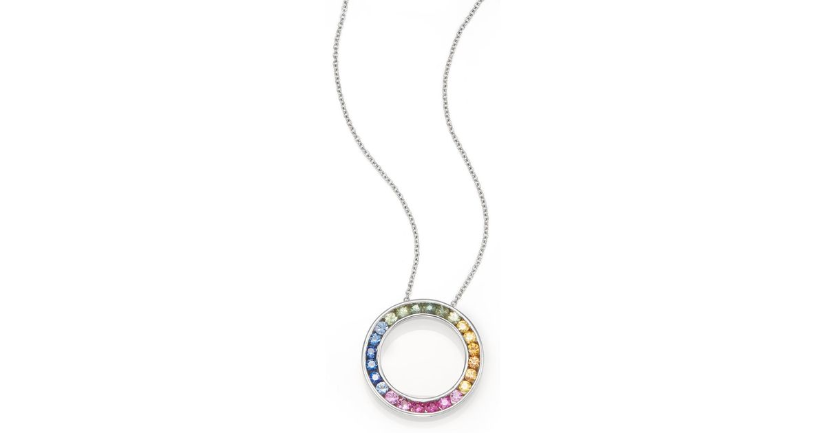 Lyst effy rainbow sapphire 14k white gold circle pendant necklace aloadofball Image collections