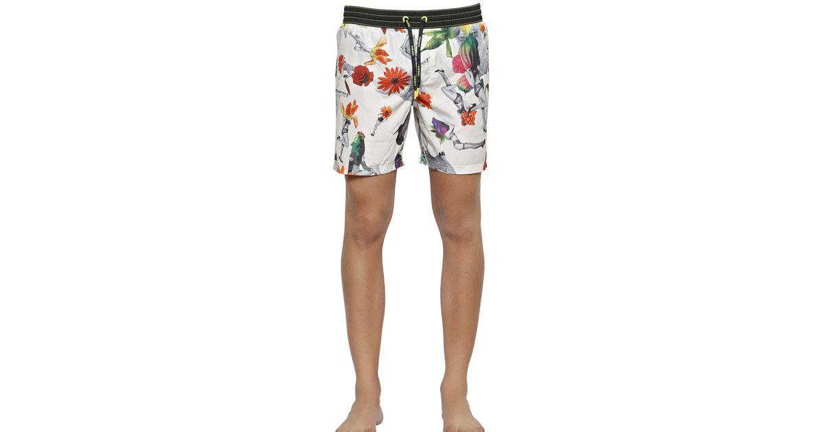 e046d14521473 DIESEL Floral Printed Nylon Swimming Shorts in White for Men - Lyst