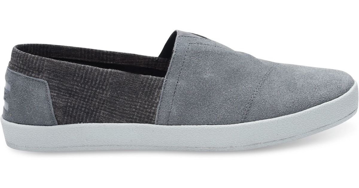 TOMS Castlerock Grey Suede And Plaid Men s Avalon Slip-ons in Gray for Men  - Lyst d3758afa58