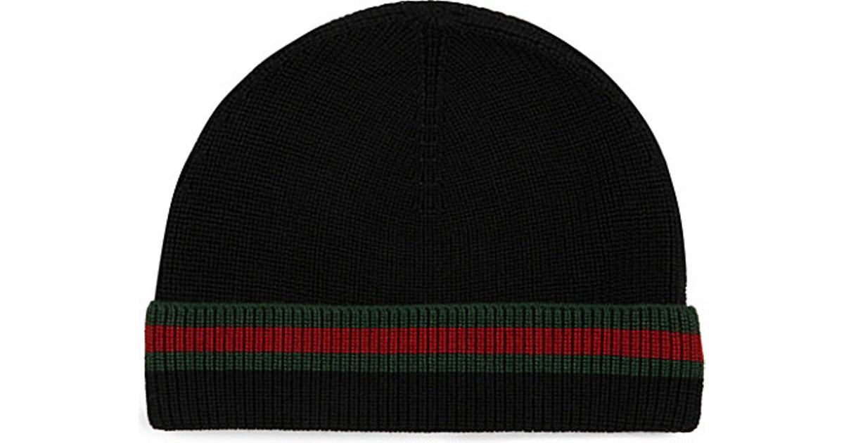 Lyst - Gucci Wool Silk Beanie in Black for Men 536b790c1ed
