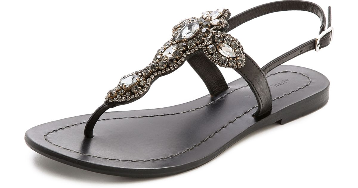 0158d1b70 Lyst - Antik Batik Aki Jeweled Sandals in Black