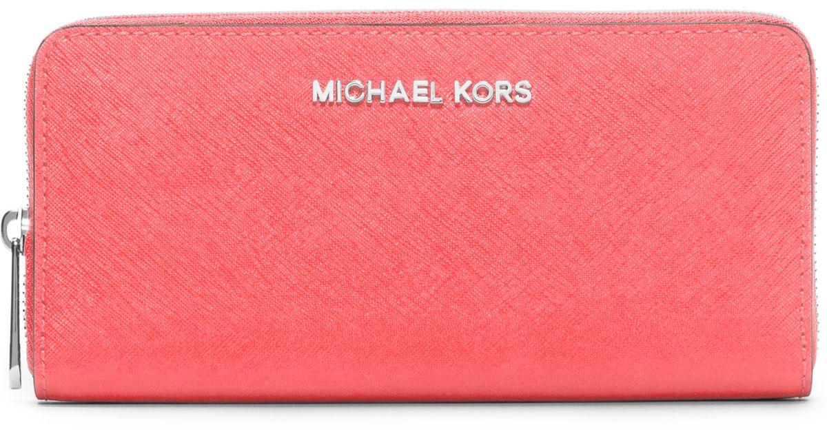47d6f4834d4b MICHAEL Michael Kors Continental Saffiano Leather Zip-around Wallet in  Orange - Lyst
