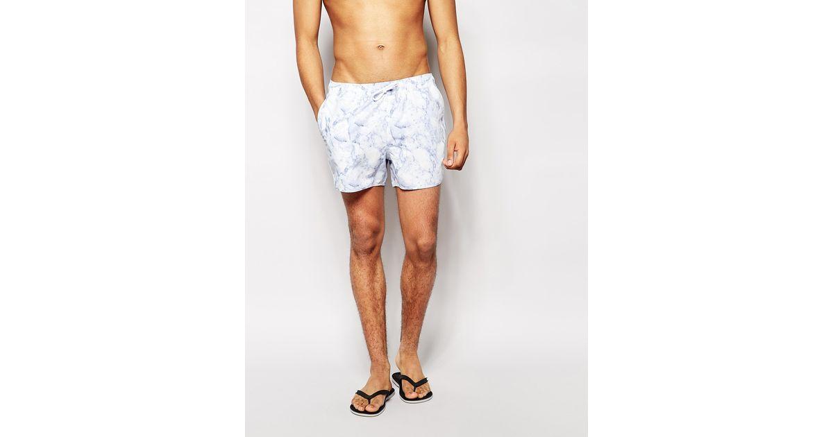 e38957c237 ASOS Swim Shorts With Marble Print In Short Length in White for Men - Lyst