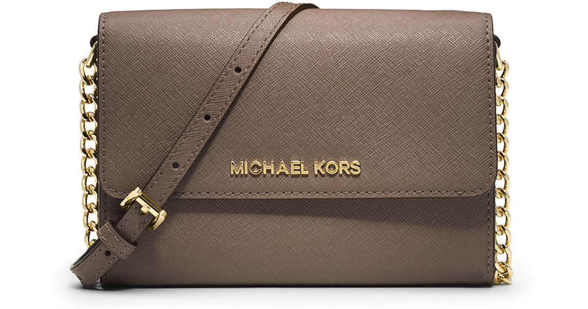 087bd7764b4c Lyst - MICHAEL Michael Kors Jet Set Travel Crossbody Phone Case wallet in  Brown