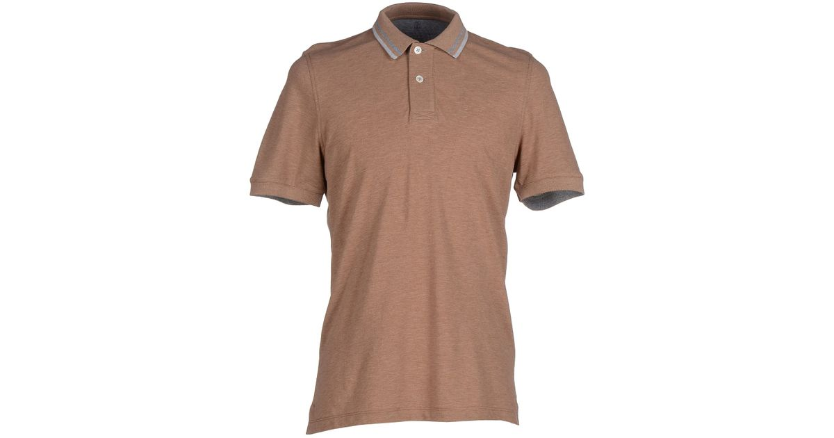 Brunello cucinelli polo shirt in brown for men lyst for Light brown polo shirt