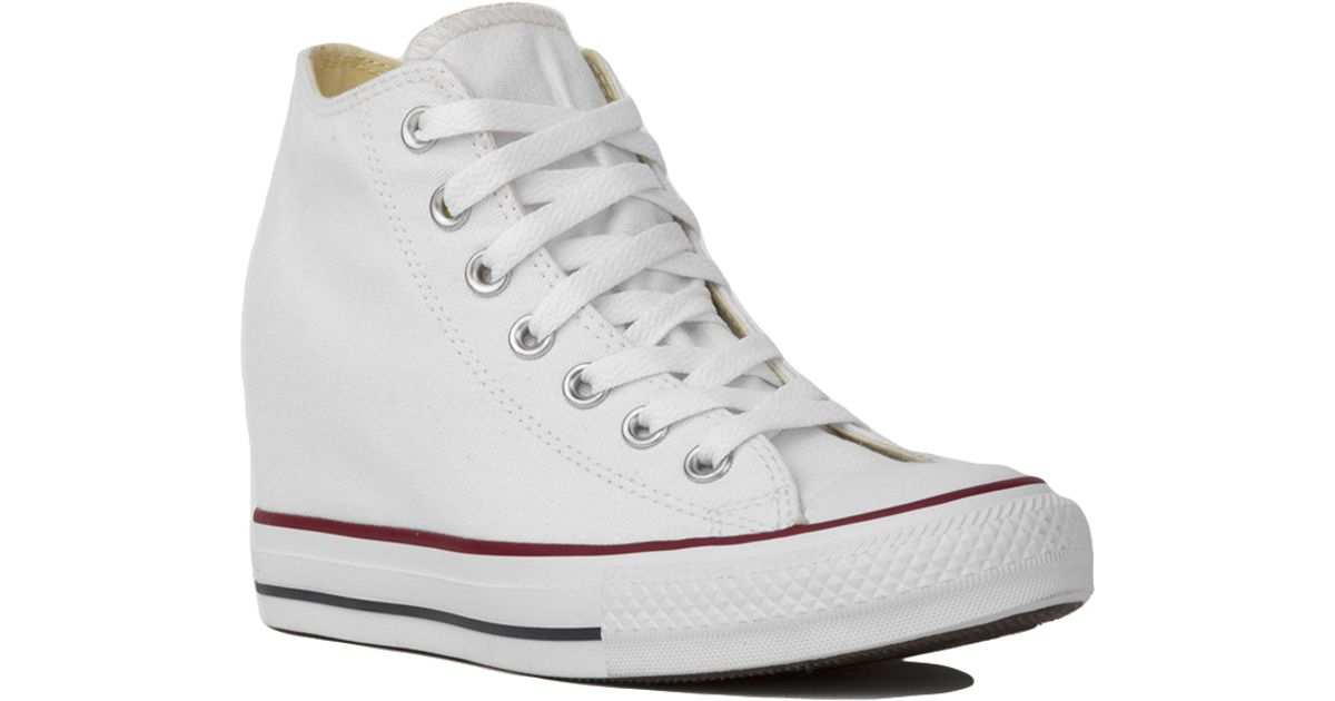 7428124bb755 Lyst - Converse Chuck Taylor All Star Lux Mid Top Sneaker Wedges - White in  White