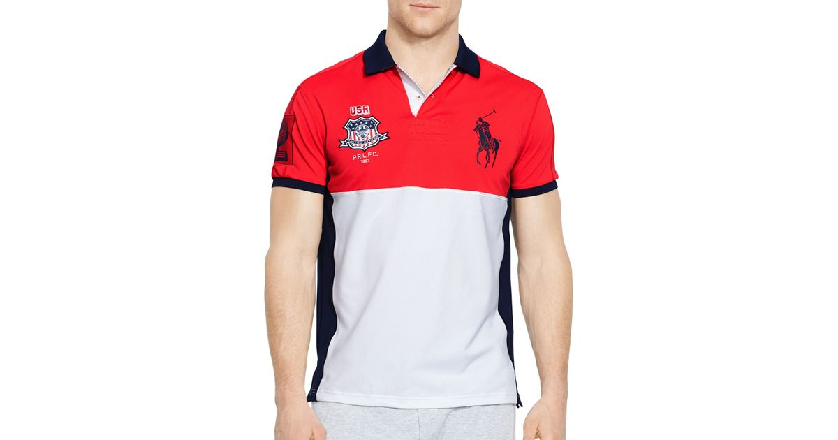 Lyst - Ralph Lauren Polo Sport Usa Performance Mesh Polo Shirt in Red for  Men