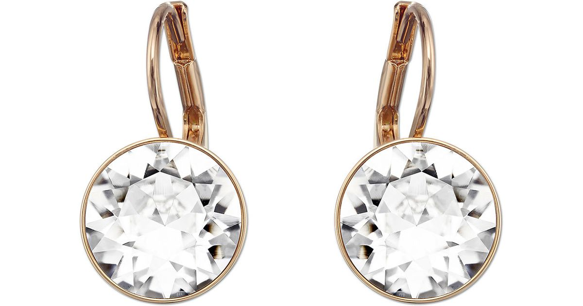 f73ccd964c0 Swarovski Bella Rose Goldtone And Crystal Drop Earrings in Pink - Lyst