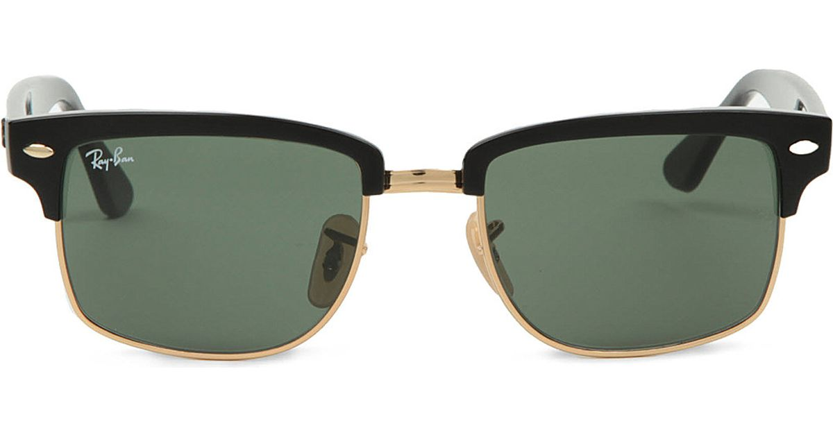 Lyst - Ray-Ban Clubmaster Square Sunglasses In Black With Green Lenses  Rb4190 52 in Black