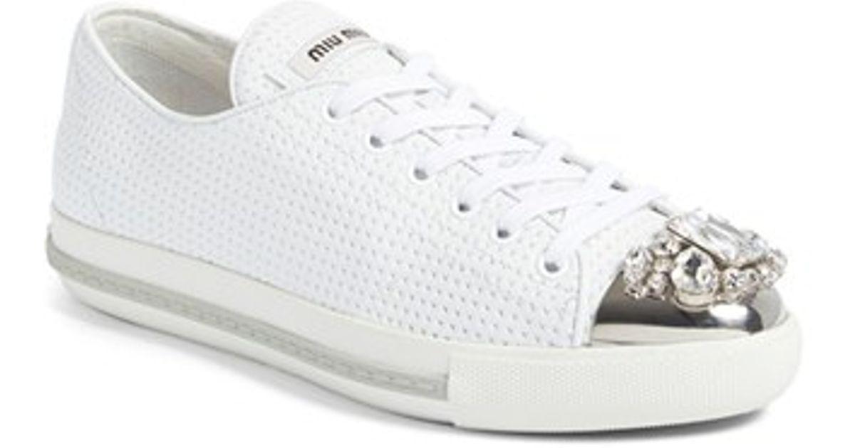 46e3d19077684 Lyst - Miu Miu Crystal Cap Toe Sneaker in White
