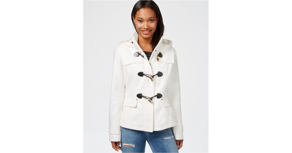 Celebrity pink Hooded Duffle Coat in White | Lyst