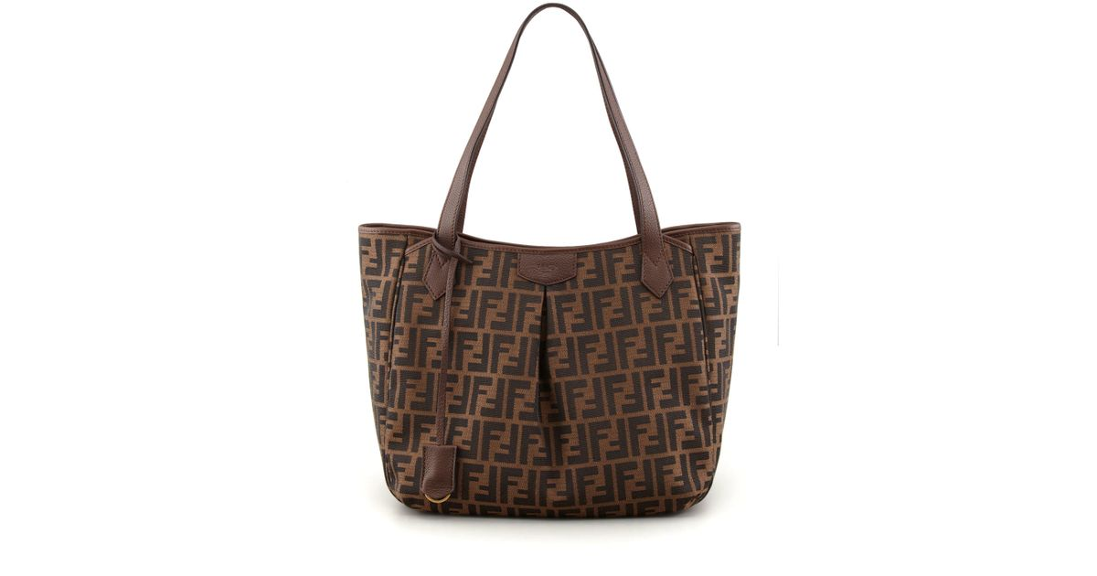 610fcc02ad5a ... real lyst fendi zucca grande shopping tote bag in brown ef967 8bc87