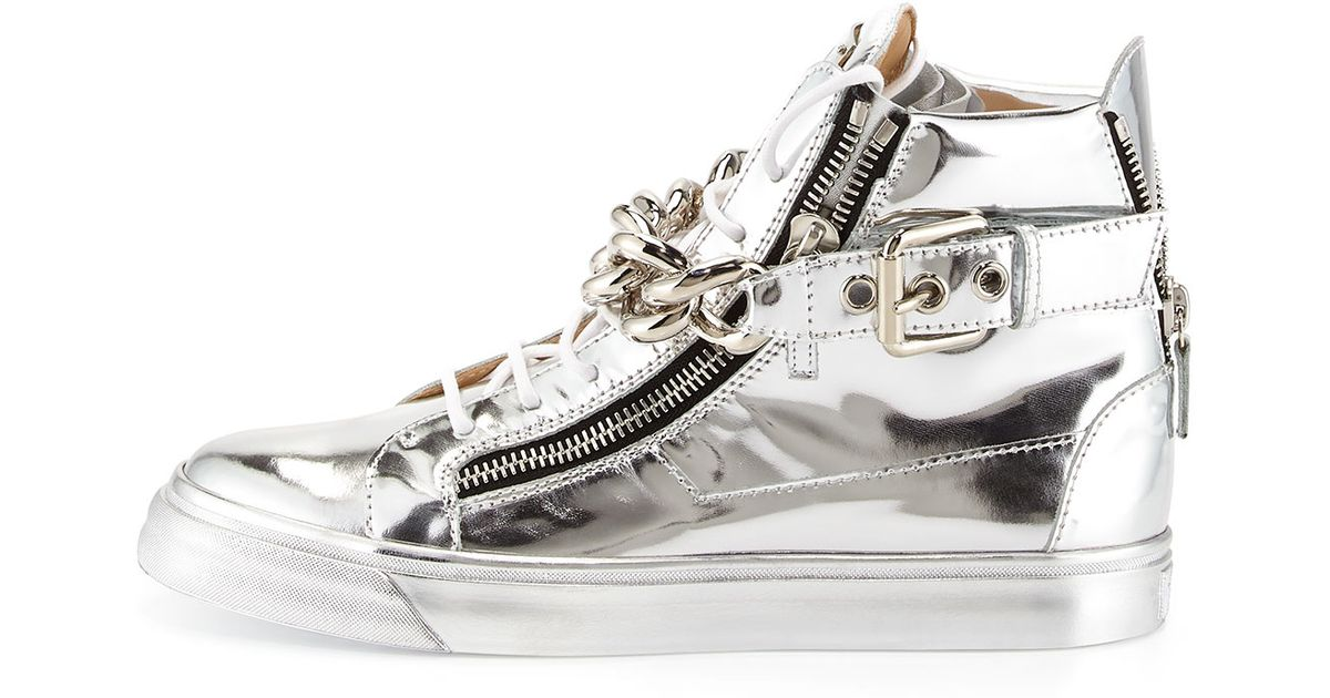 206058fb0aafc Giuseppe Zanotti Mens Metallic Chain & Zipper High-top Sneaker in Metallic  for Men - Lyst