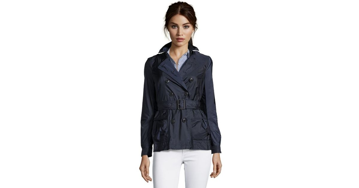 Burberry Navy Nylon Double Breasted 'Peasdale' Short Trench Coat ...