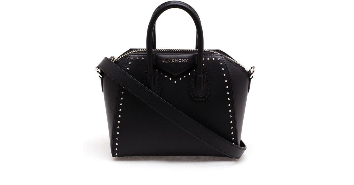 e8f95de179f7 Lyst - Givenchy Studded Mini Antigona Bag in Black