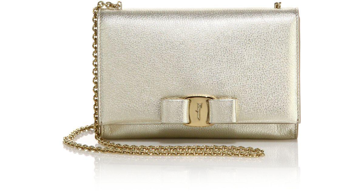 Lyst - Ferragamo Miss Vara Mini Metallic Leather Crossbody Bag in Metallic 3690057268c8f