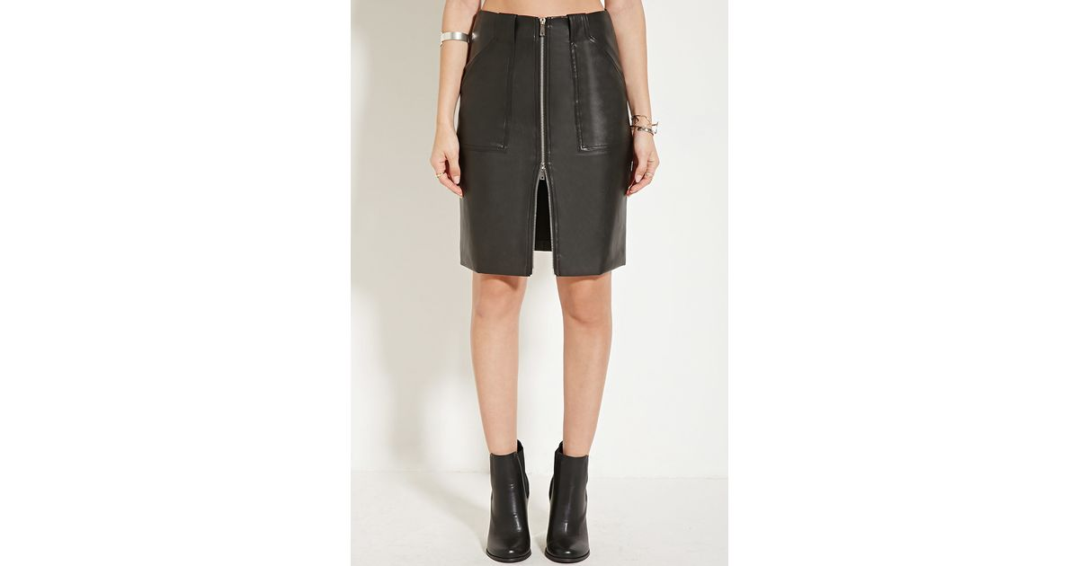 forever 21 faux leather knee length skirt in black lyst