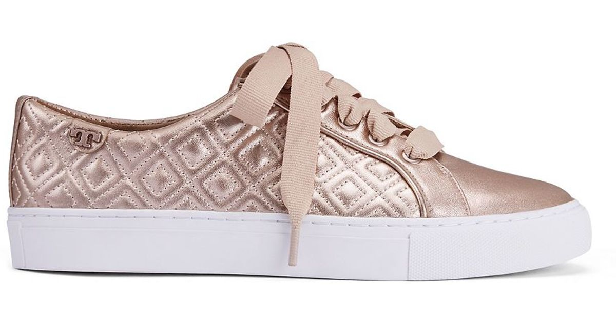 35d45af413b Lyst - Tory Burch Marion Quilted Metallic Sneaker in Pink