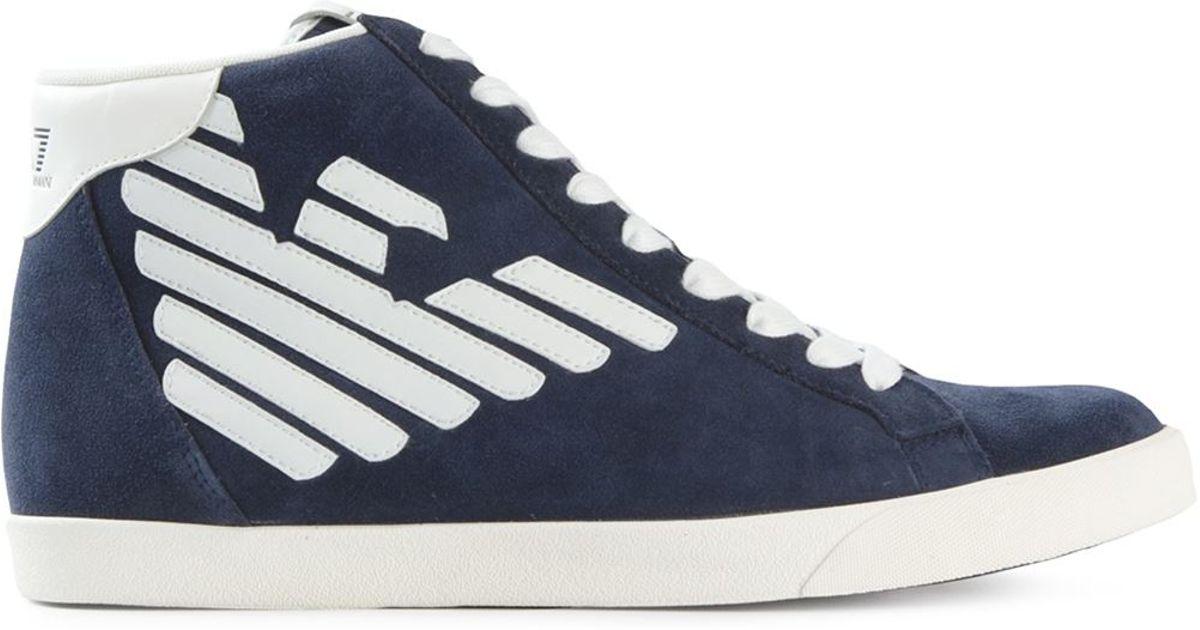 Emporio Chaussures De Sport Patch Logo Armani - Bleu wRmq9J
