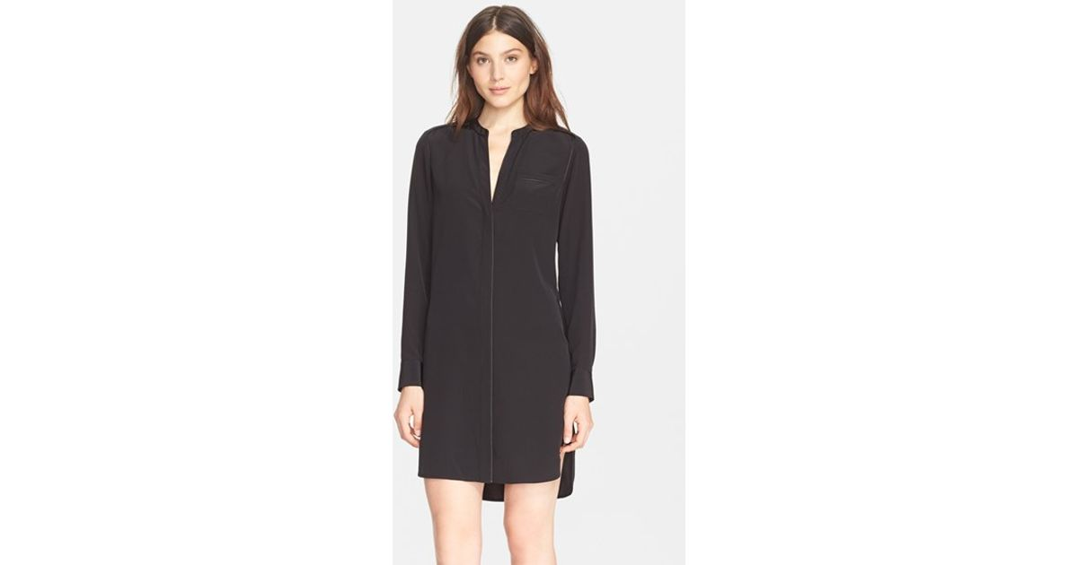 c147319c52d4d8 Lyst - Vince Piped Long Sleeve Silk Shirtdress in Black