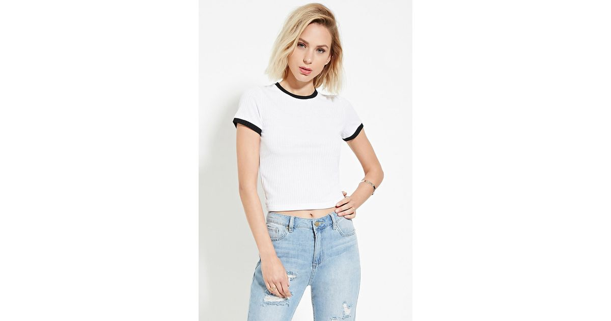 794898a4c5f Forever 21 Cropped Ringer Tee You've Been Added To The Waitlist in White -  Lyst