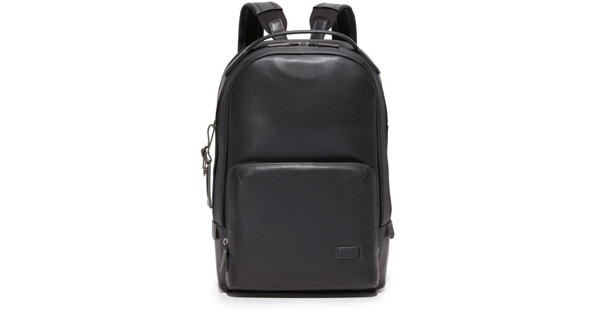 Lyst - Tumi Harrison Leather Webster Backpack in Black for Men 0de5d809da53a
