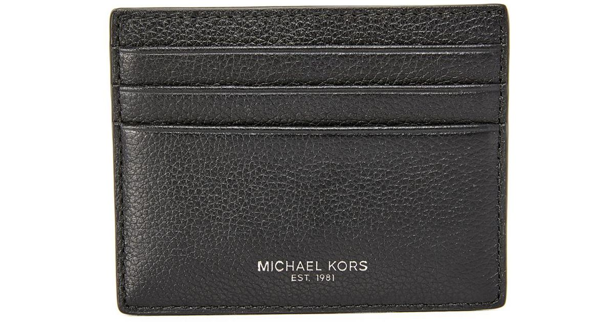 15bf5d6261ceb Lyst - Michael Kors Bryant Pebbled Leather Tall Card Case in Black for Men