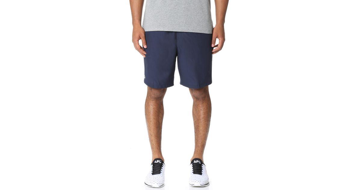 4c89d4965586f Lyst - Lacoste Diamond Weave Taffeta Tennis Shorts in Blue for Men
