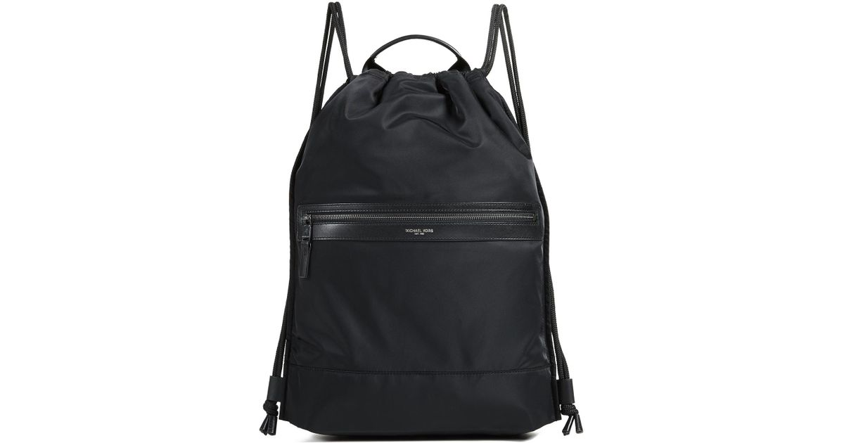 b498ac6320cd Michael Kors Kent Flat Drawstring Backpack in Black for Men - Lyst