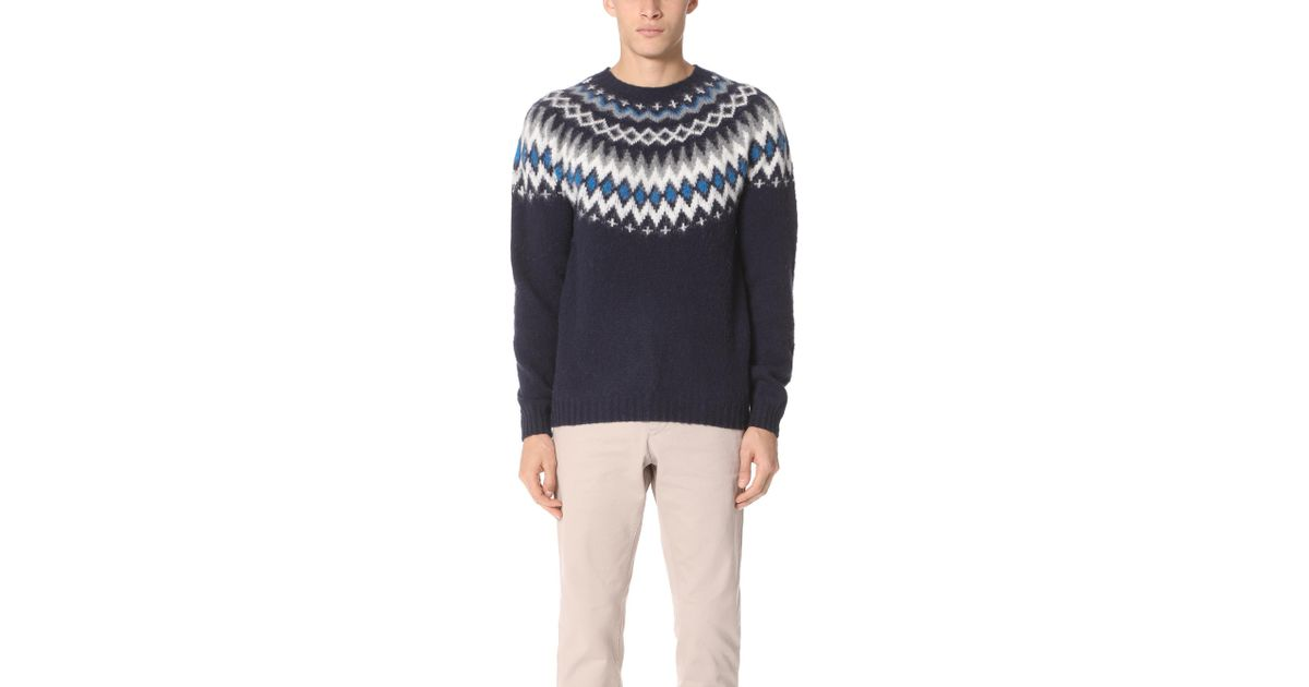 Norse projects Birnir Fairisle Sweater in Blue for Men | Lyst