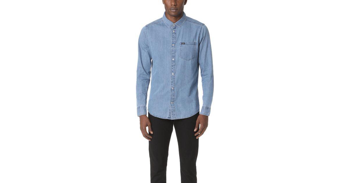 f10cb293917 Lyst - RVCA Mason Denim Shirt in Blue for Men