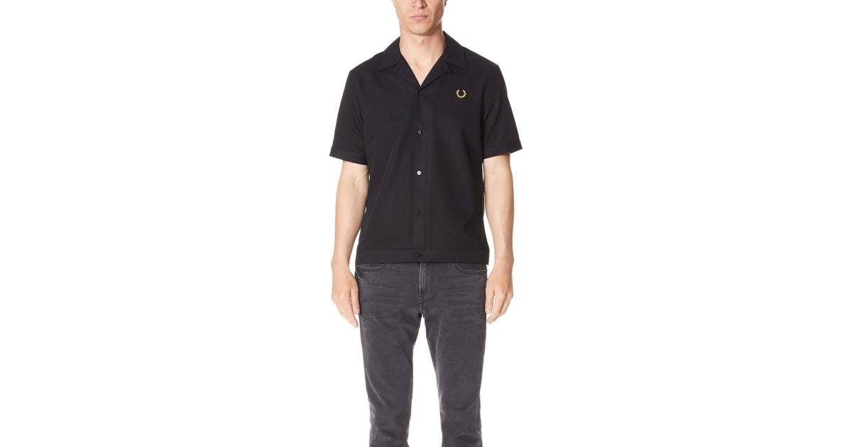 5f358c78a Fred Perry Miles Kane Bowling Shirt in Black for Men - Lyst