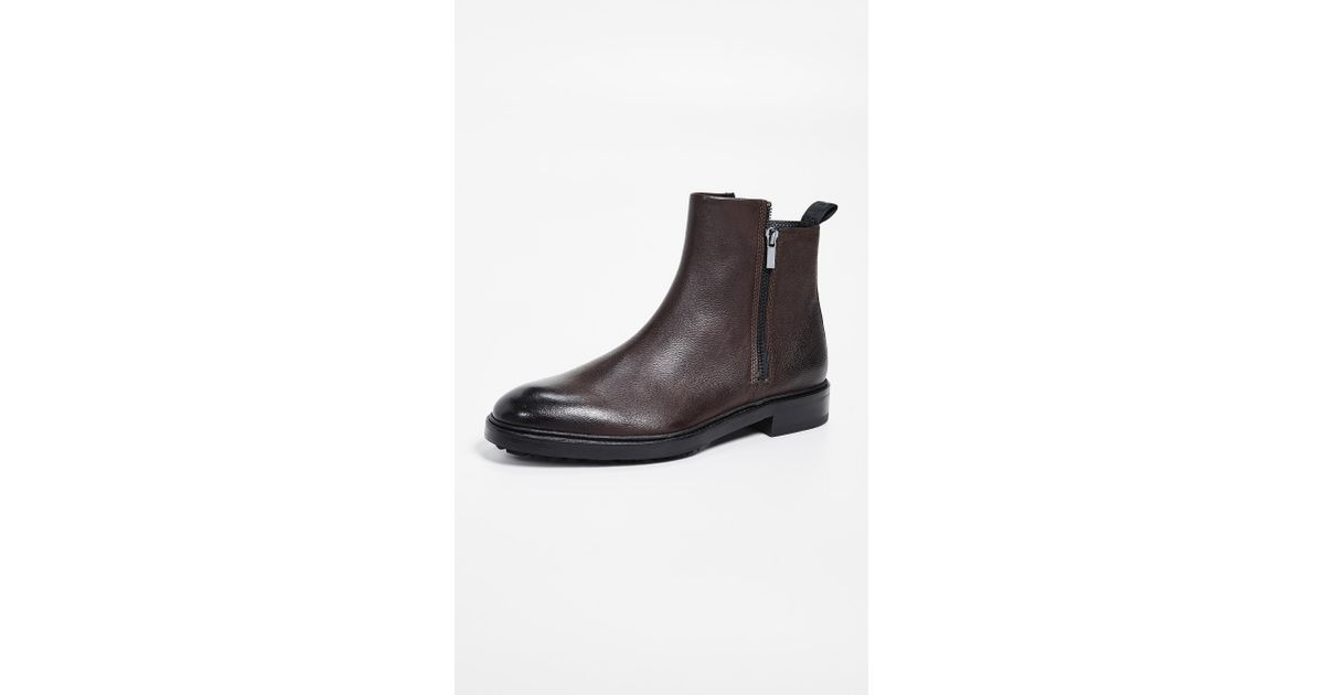 8923da3e90c HUGO - Brown Bohemian Leather Zip Boots for Men - Lyst