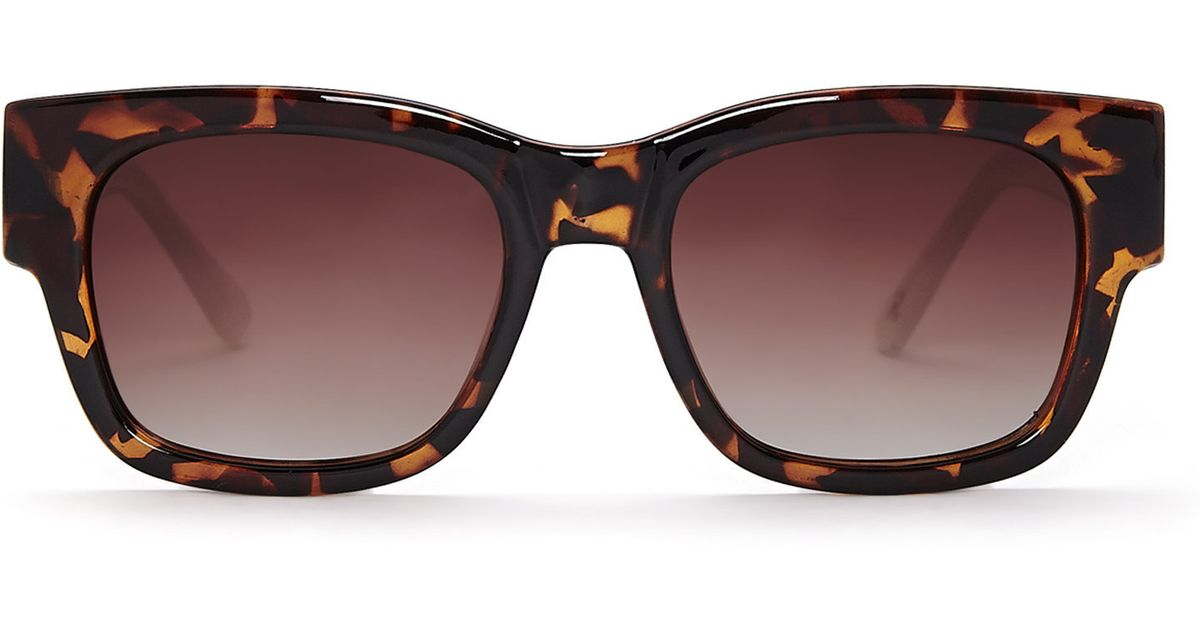 da3f4c8bb9 Lyst - Cole Haan Dark Tortoiseshell-Look C16121 Wayfarer Sunglasses in Brown