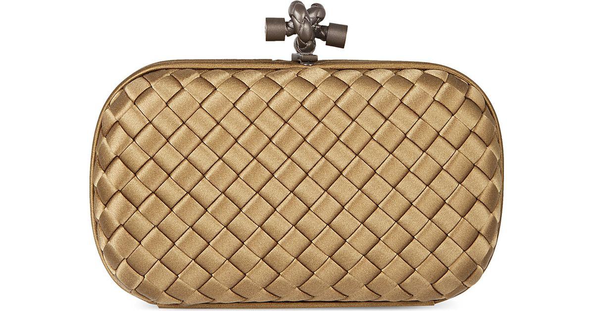 3002ddf7f3 Bottega Veneta Impero Intrecciato Satin Knot Clutch Bag - For Women in  Metallic - Lyst