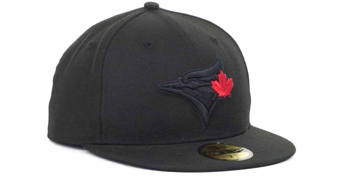 new concept 8b127 e77a2 ... amazon lyst ktz toronto blue jays mlb black on black fashion 59fifty cap  in black for