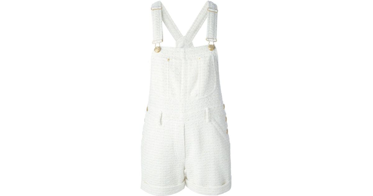 81333f82f4 Moschino Tweed Dungaree Playsuit in Natural - Lyst