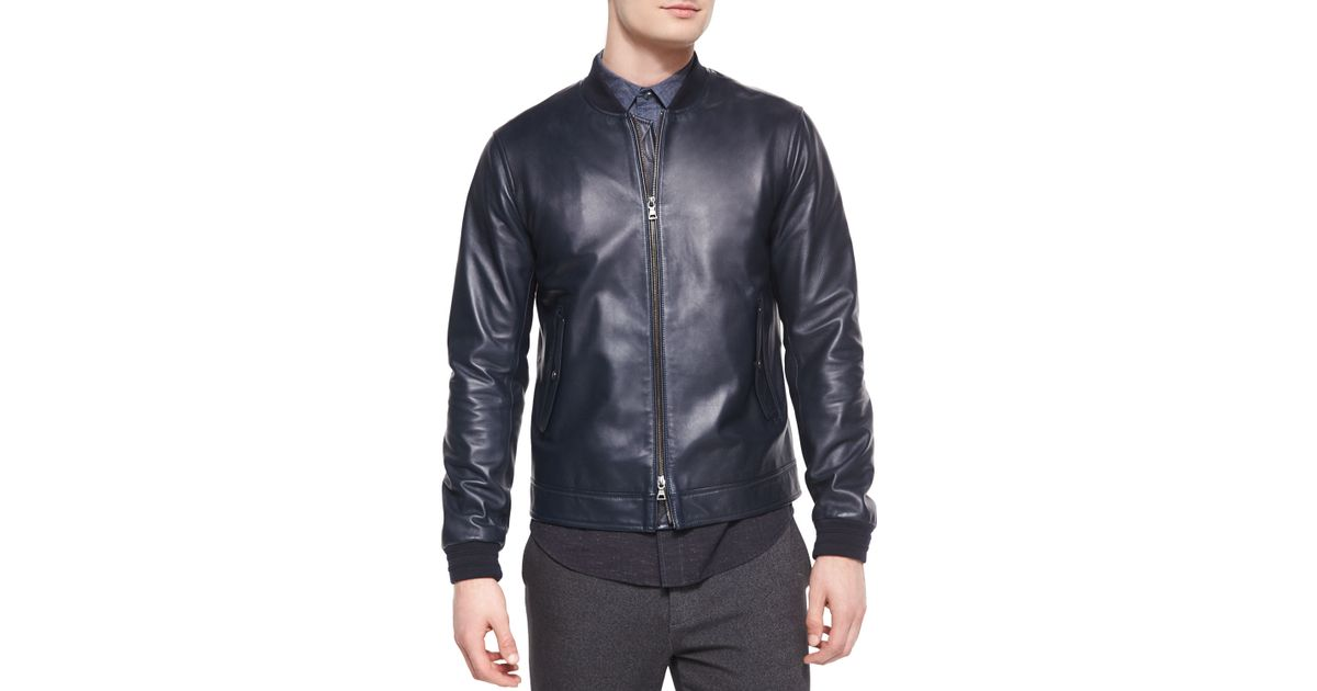 Vince Leather Bomber Jacket In Blue For Men Lyst