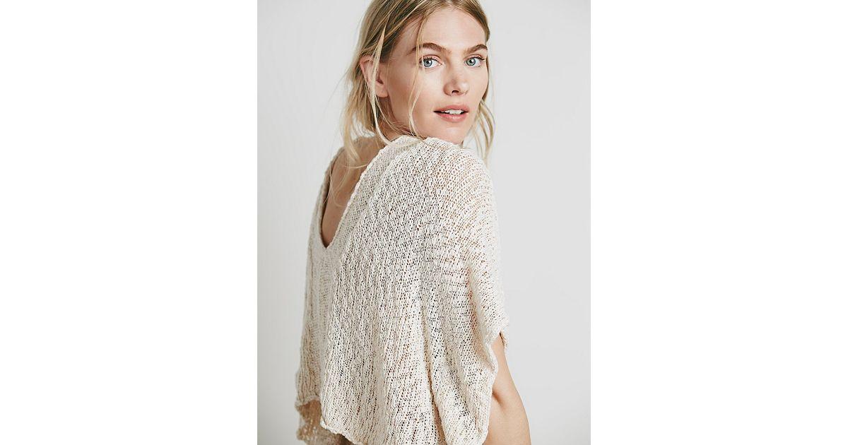 daf2c0a8f9 Free People Womens Slubby Poncho Sweater in White - Lyst
