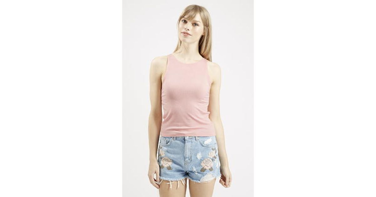 1c8cee9837b03 Lyst - TOPSHOP Slim Ribbed Tank Top in Pink